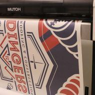 Dingers Roofing Sublimated Floor Mats Being Printed