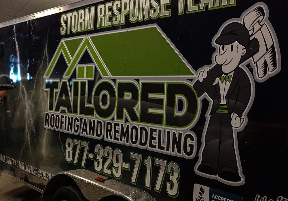 Tailored Roofing and Remodeling full coverage trailer wrap