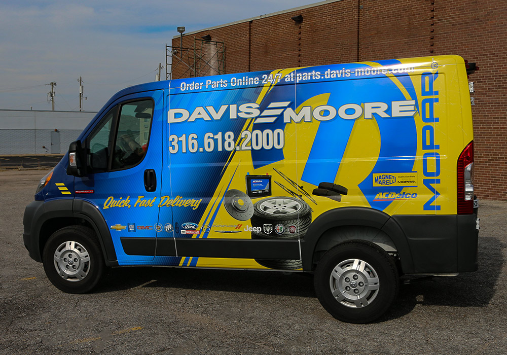 Wraps are also one of the most cost-effective types of advertising available today. Imagine all the exposure this Davis Moore Mopar parts delivery van wrap gets.
