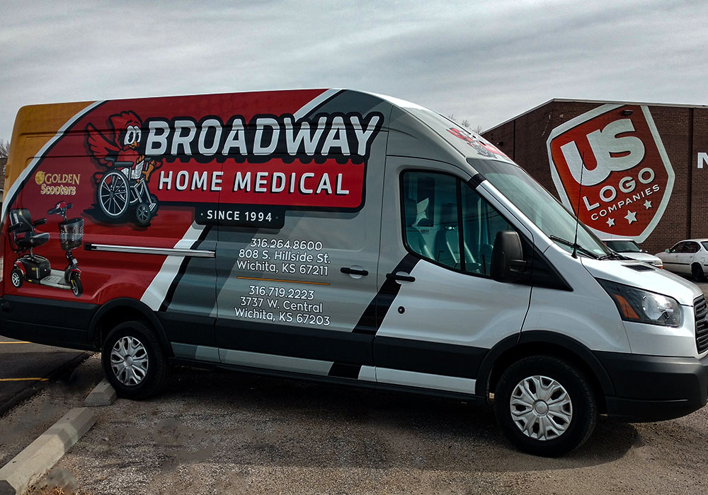 Vinyl wrapping is a process that involves applying large sheets of vinyl film to individual panels of a vehicle in order to change the color, texture, and even add graphics to the vehicle like on this Broadway Home Medical Van Wrap by MightyWraps.