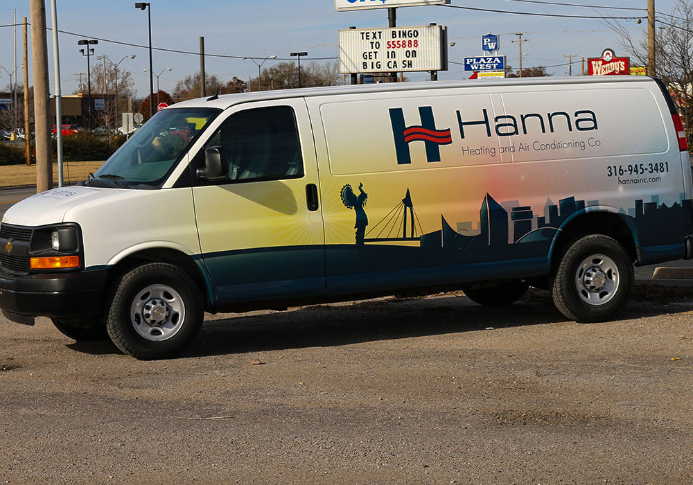 Hanna Heating and Aid Conditioning Co. Fleet Wraps - They are on their way to having a fleet of 50 vans that will have full coverage vinyl wraps.