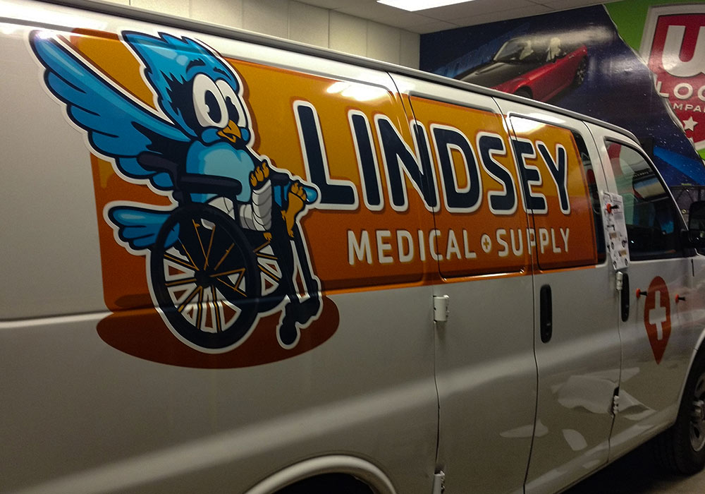 Whether the number of vans in your fleet ranges from 1 to 1,000, we strive to meet your timeline, budget, and creative needs! Even if your fleet has different branding at different locations like this Lindsey Medical Supply Van Wrap.