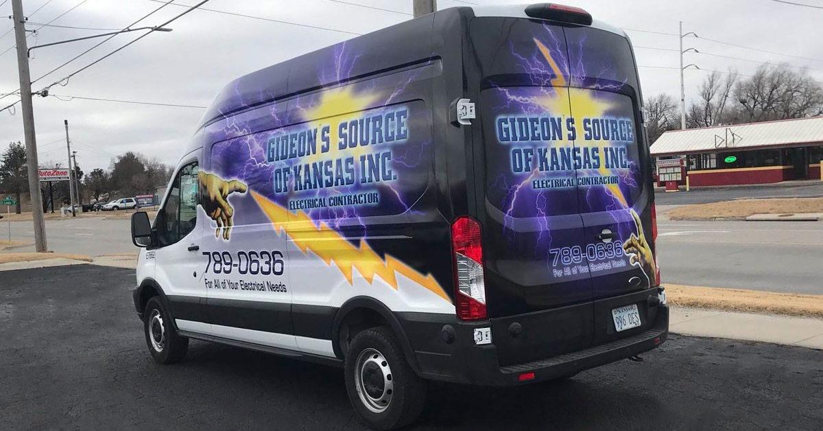 12 advantages of vinyl vehicle wraps vs painting your vehicle - Gideon's Source of Kansas - Electrical Contractors Van Wrap