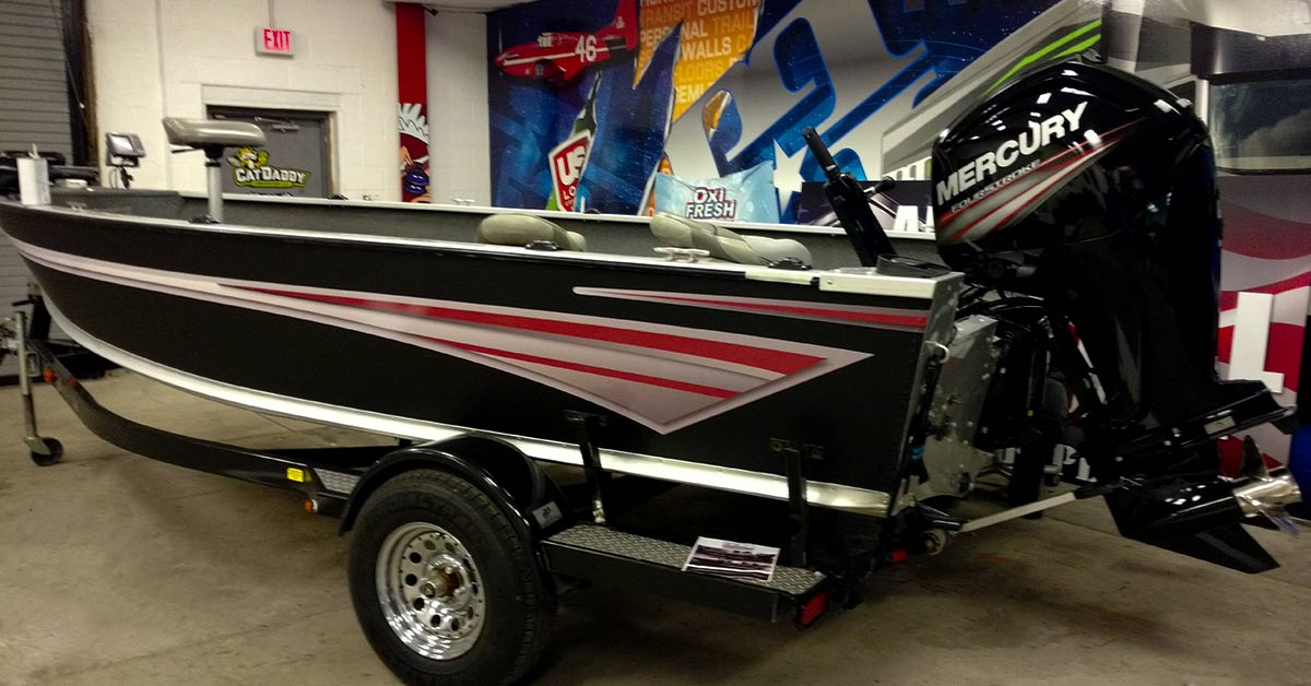 It usually takes 10 days or less for production after the art or color change boat wrap is approved. We require at minimum a 50% down payment on the boat wrap ad the rest when the job is complete.