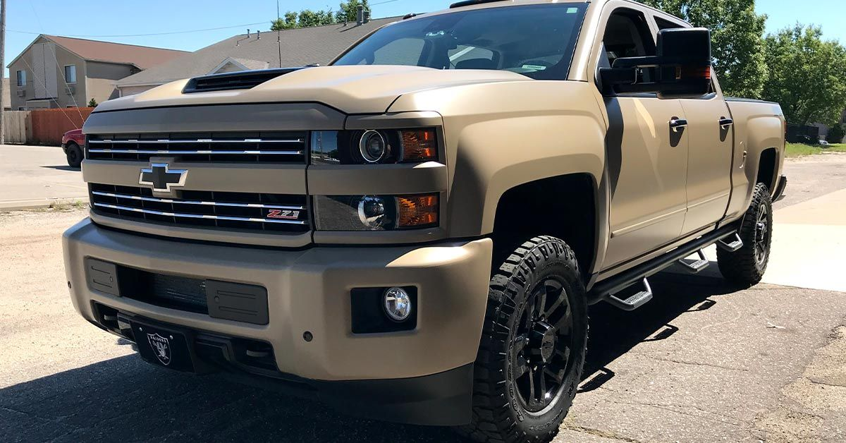 Alpha Heating and Cooling's personal vehicle - Desert Khaki  Full Coverage Color Change Truck Wrap