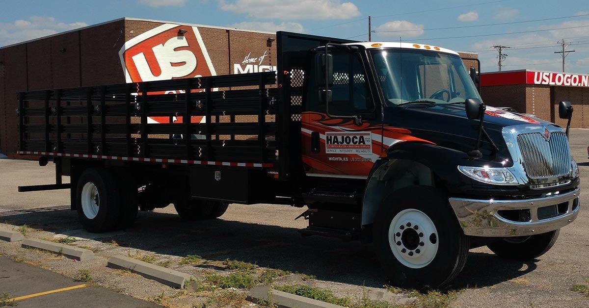 Hajoca small semi truck wrap with flatbed.