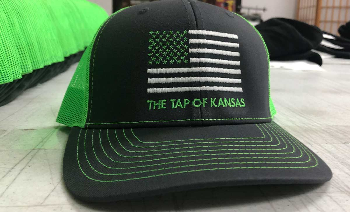 Adding custom embroidery marketing -The Tap of KS Embroidered American Flag Caps