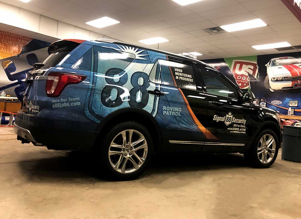 Custom Vehicle Graphics for Law Enforcement - Signal 88 Security Private Security Cruiser Partial Wrap