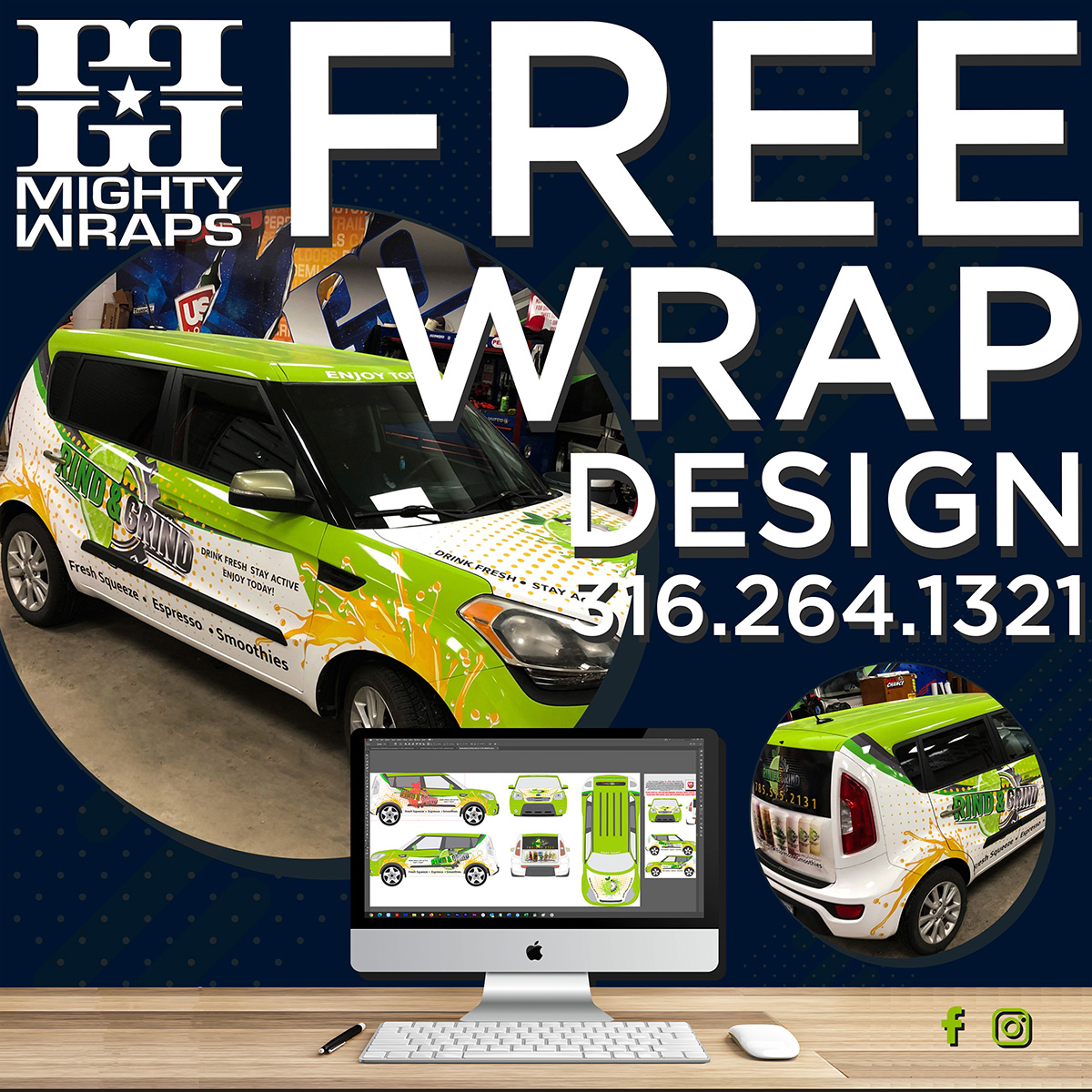 Free Wrap Design - For 2-weeks only Mighty Wraps a US Logo Company is offering free design on all commercial vehicle wraps. A $300+ Value!  https://mightywraps.com