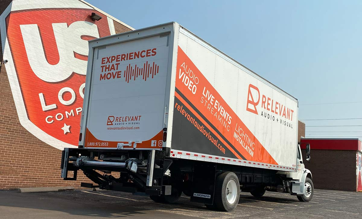 What Should My Vehicle Wrap Look Like? - Answer, how about like Relevant Audio's Delivery Truck - Semi Truck Wrap