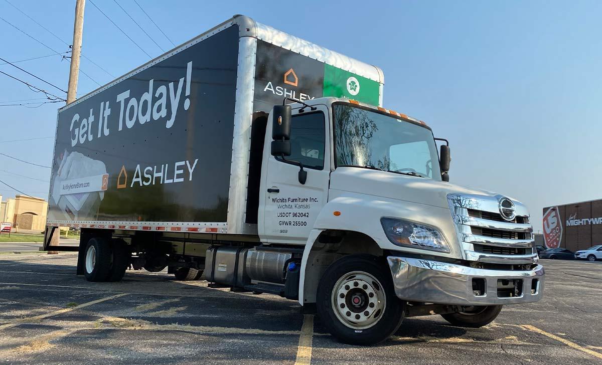 Ashley Furniture Fleet Wraps Maintain a Consistent Brand Identity - Semi Box Truck Full Coverage Wrap
