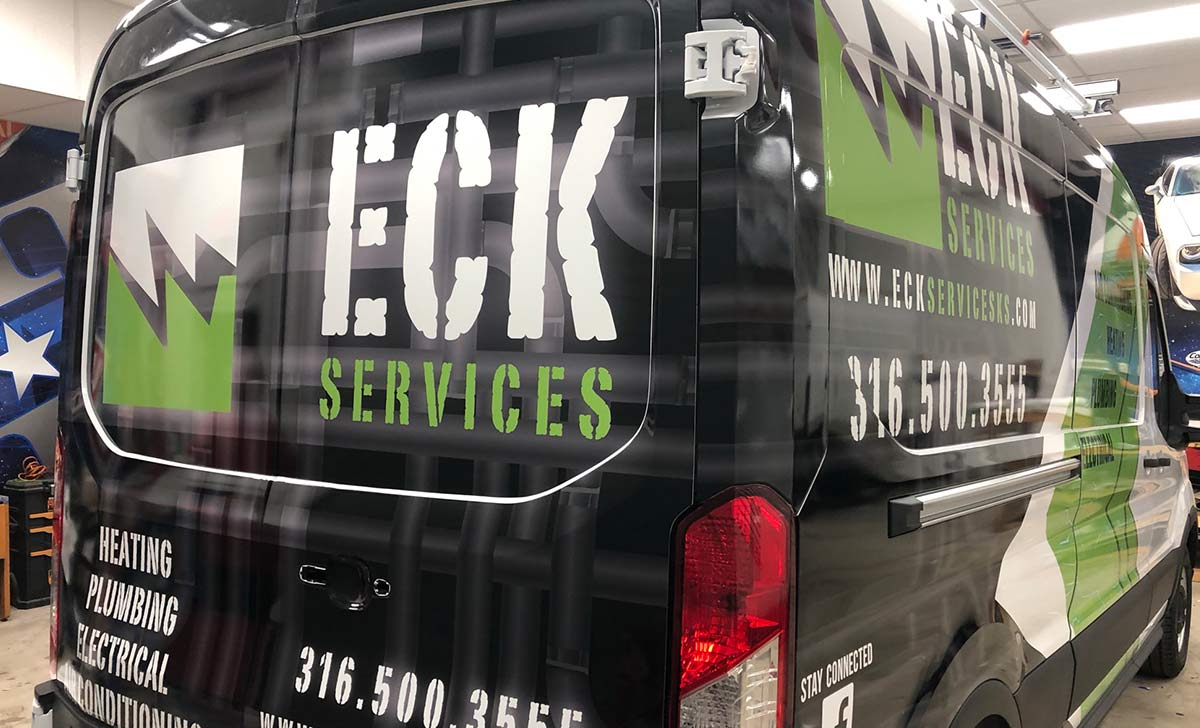 Large Text Improves Readability and ECK Services Partial Coverage Ford Sprinter Van Wraps Is Proof- Fleet Wraps