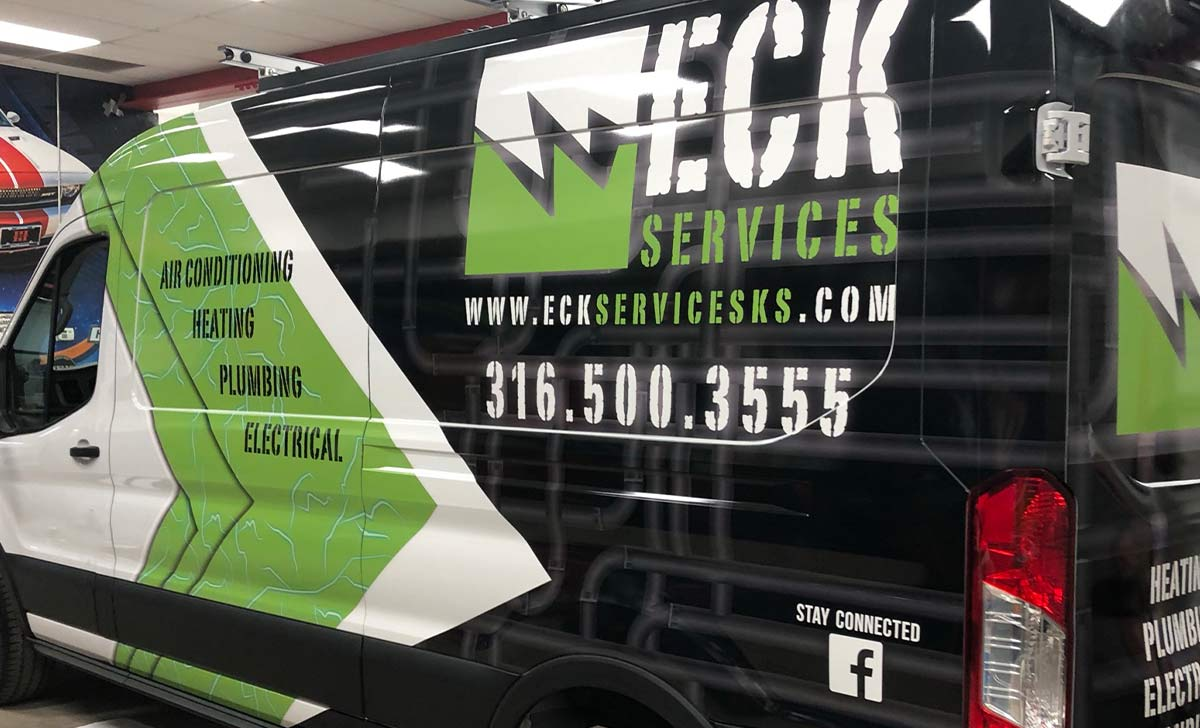 Large Text Improves Readability and ECK Services Partial Coverage Ford Sprinter Van Wrap is Proof