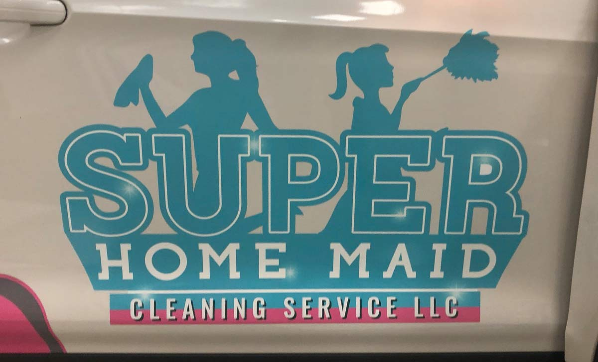 Short Text is the Key to Wrap Readability and Super Home Maid Cleaning Service, LLC. Spot Coverage Graphics Prove It